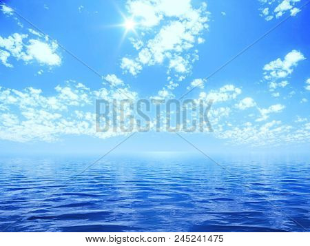 blue sky with some clouds and the sun over the ocean