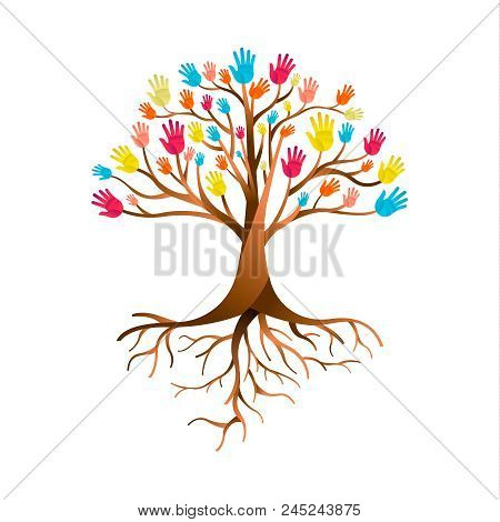 Tree Made Of Colorful Human Hands With Branches And Roots. Community Help Concept, Diverse Culture G