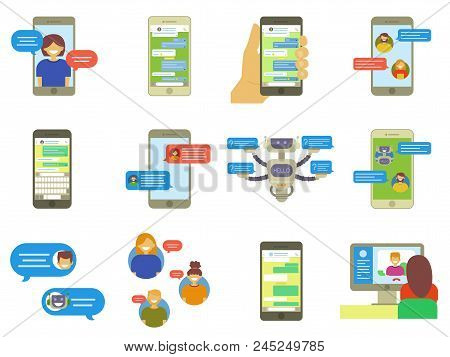 Flat Collection Of Chatting People, Bubble Speeches Messages On Phone, Online Chat App, Internet Cha
