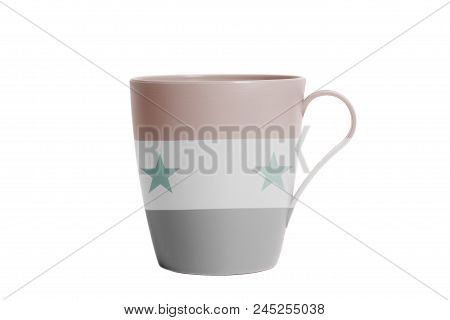 Cup With Flag Of Syria Isolated On White Background
