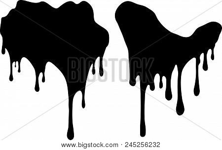 Pair Of Black Decors With Paint Drips. Vector Illustration For Your Design.