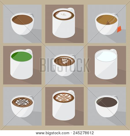 Collection Of Popular Hot Beverage Menu.these Foods Are Favorite For Many Peoples Or Carreers, Such