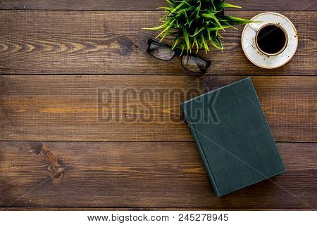 Intellectual Entertainment Concept. Books With Empty Cover Near Glasses, Coffe, Plant On Dark Wooden