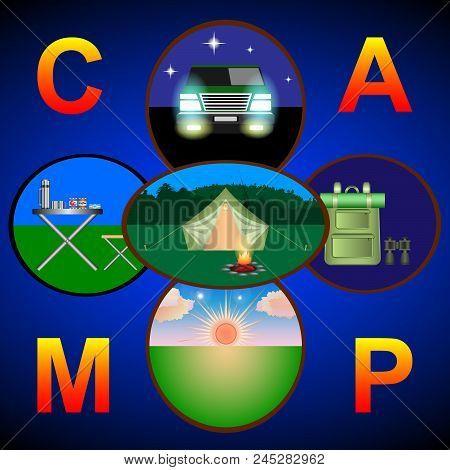 Camping, Hiking, Road Travel And Picnic Concept Background With Place For Text. Campground With Tour