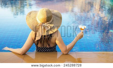 Lifestyle Asian Summer Vacation Concept,women In Swimsuit Relax With Cocktails On The Pool,young Sex