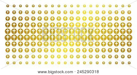Medical Pharmacy Icon Golden Halftone Pattern. Vector Medical Pharmacy Shapes Are Organized Into Hal