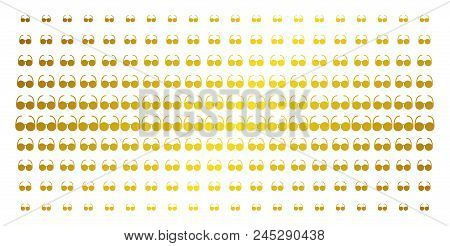 Spectacles Icon Gold Halftone Pattern. Vector Spectacles Pictograms Are Arranged Into Halftone Grid