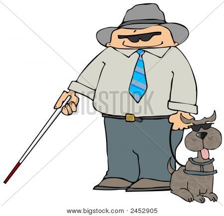 This illustration depicts a blind man and a dog with dark glasses. poster
