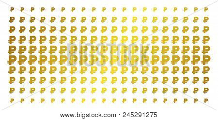 Rouble icon gold halftone pattern. Vector rouble shapes are arranged into halftone array with inclined golden gradient. Designed for backgrounds, covers, templates and bright concepts. poster