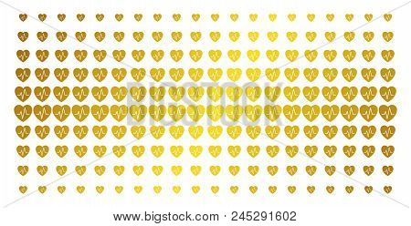 Cardiology Icon Gold Colored Halftone Pattern. Vector Cardiology Pictograms Are Arranged Into Halfto