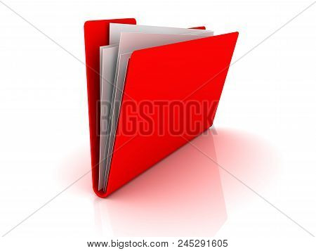 Red Folder With Paper Out. Red Folder With Paper Out