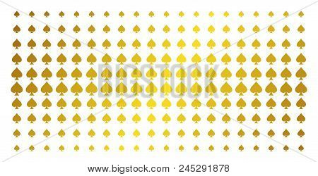 Peaks Suit Icon Gold Halftone Pattern. Vector Peaks Suit Items Are Organized Into Halftone Grid With