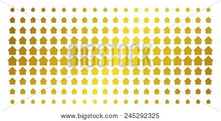 Cabin Icon Gold Colored Halftone Pattern. Vector Cabin Shapes Are Arranged Into Halftone Array With