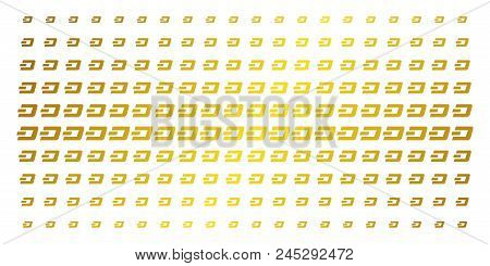 Dash Currency Icon Gold Colored Halftone Pattern. Vector Dash Currency Shapes Are Organized Into Hal