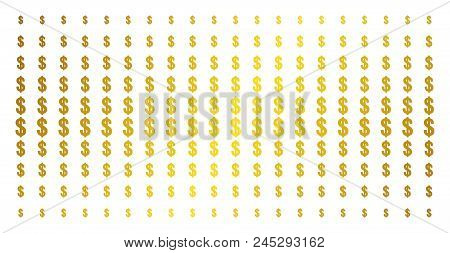 Dollar Icon Golden Halftone Pattern. Vector Dollar Shapes Are Arranged Into Halftone Grid With Incli