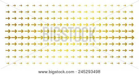 Arrow Direction Icon Gold Colored Halftone Pattern. Vector Arrow Direction Symbols Are Organized Int
