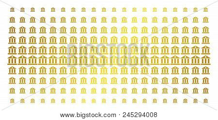 Bank Building Icon Gold Colored Halftone Pattern. Vector Bank Building Shapes Are Organized Into Hal