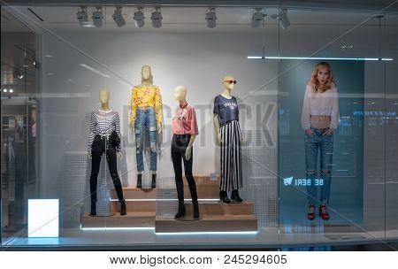 H&m Shop At Mega Bangna, Bangkok, Thailand, Apr 10, 2018 : Fashionable Brand Window Display. Spring