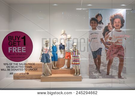 H&m Shop At Mega Bangna, Bangkok, Thailand, Apr 10, 2018 : Fashionable Kids Clothing Brand In Spring