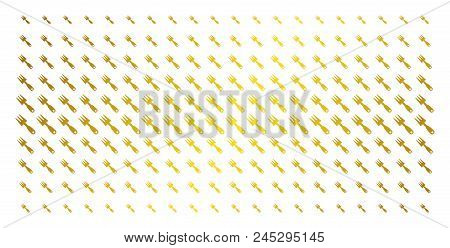 Cultivator Rake Icon Gold Halftone Pattern. Vector Cultivator Rake Shapes Are Arranged Into Halftone