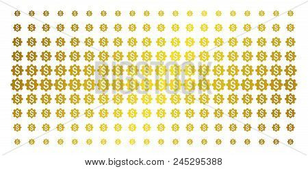 Industrial Capital Icon Gold Halftone Pattern. Vector Industrial Capital Shapes Are Organized Into H