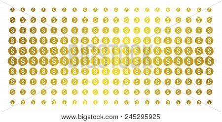 Bank Seal Icon Gold Colored Halftone Pattern. Vector Bank Seal Symbols Are Organized Into Halftone M