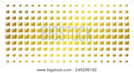 Cash Register Icon Gold Halftone Pattern. Vector Cash Register Pictograms Are Organized Into Halfton