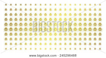 Ladybird Bug Icon Golden Halftone Pattern. Vector Ladybird Bug Pictograms Are Arranged Into Halftone