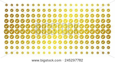 Apply Icon Golden Halftone Pattern. Vector Apply Objects Are Arranged Into Halftone Array With Incli