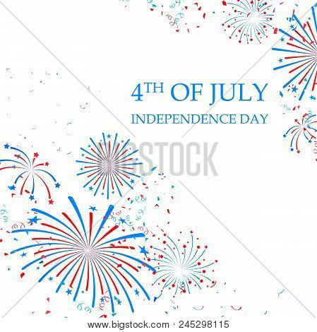 Illustration Of Background Firework For Fourth Of July, Happy Independence Day Of America