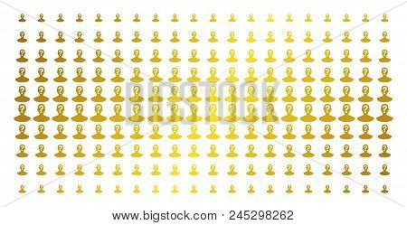 Unknown Person Icon Gold Colored Halftone Pattern. Vector Unknown Person Pictograms Are Organized In