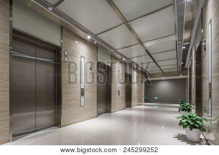 elevator room in modern office building