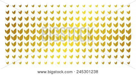 Floral Sprout Icon Gold Halftone Pattern. Vector Floral Sprout Symbols Are Organized Into Halftone A