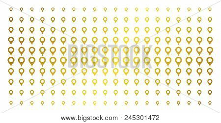 Map Marker Icon Golden Halftone Pattern. Vector Map Marker Pictograms Are Arranged Into Halftone Mat