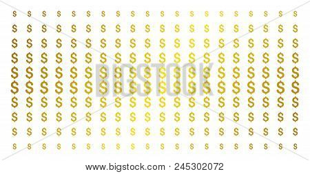 Dollar Icon Gold Halftone Pattern. Vector Dollar Shapes Are Arranged Into Halftone Matrix With Incli
