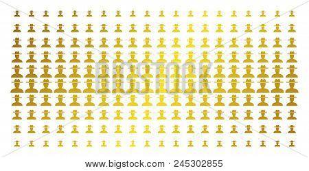 Farmer Icon Gold Halftone Pattern. Vector Farmer Symbols Are Organized Into Halftone Grid With Incli