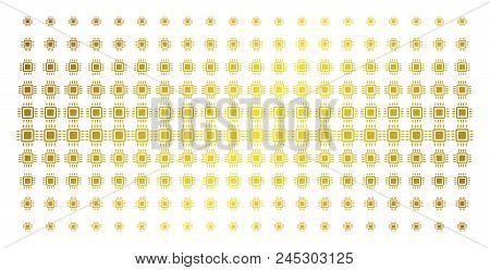 Processor Icon Golden Halftone Pattern. Vector Processor Items Are Organized Into Halftone Matrix Wi