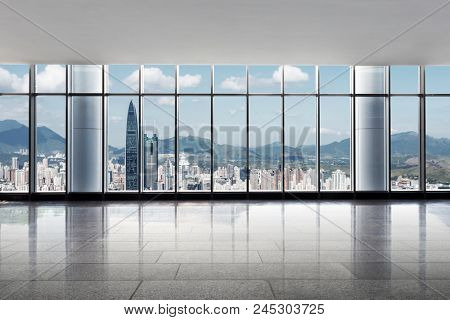 skyscrapers of a modern city with overlooking perspective under blue sky