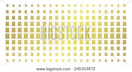 Uncle Sam hat icon gold colored halftone pattern. Vector Uncle Sam hat items are arranged into halftone matrix with inclined gold gradient. Designed for backgrounds, covers, poster