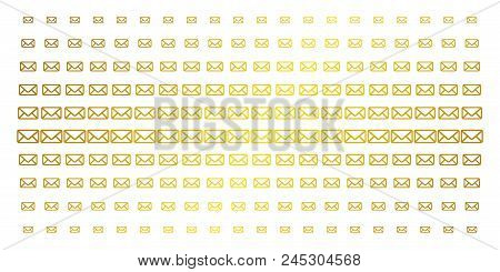 Envelope Icon Gold Colored Halftone Pattern. Vector Envelope Items Are Arranged Into Halftone Array