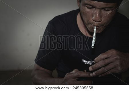 Men Are Taking Drugs, The Concept Of Crime And Drug Addiction. 26 June, International Day Against Dr