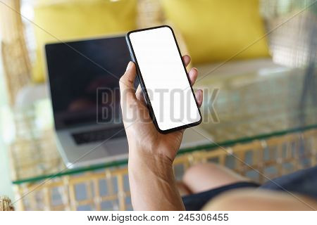 Focus On Women Hand Holding Phone White Screen
