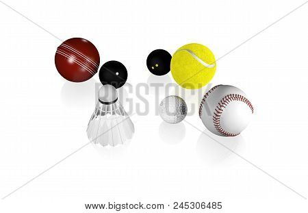 3d Illustration Of Some Small Sport Balls Like Tennis Golf Squash And Others With A White Background