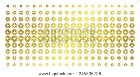 Pharmacy Icon Gold Colored Halftone Pattern. Vector Pharmacy Pictograms Are Arranged Into Halftone G
