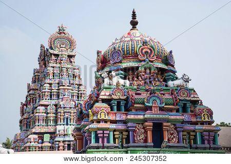 Colourful Carved Gopuram, Near Shiva Temple, Gangaikonda Cholapuram, Tamil Nadu