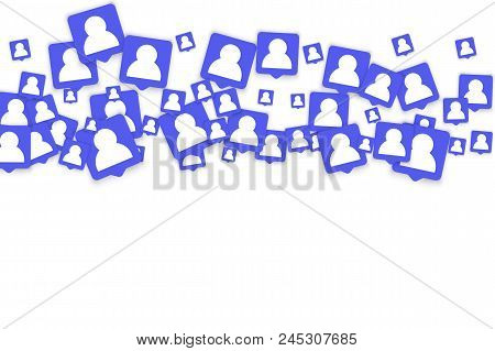 Social Media Marketing Background. Blog Design.  Social Networks. Follow And Share Social Media Icon