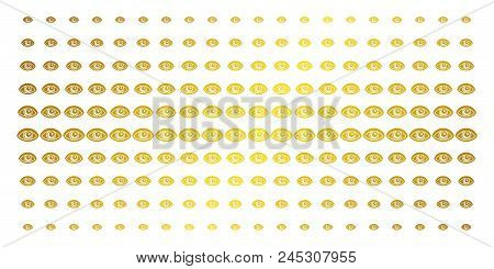 Vision Icon Golden Halftone Pattern. Vector Vision Pictograms Are Arranged Into Halftone Array With