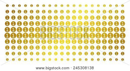 One Coin Icon Gold Halftone Pattern. Vector One Coin Objects Are Organized Into Halftone Array With