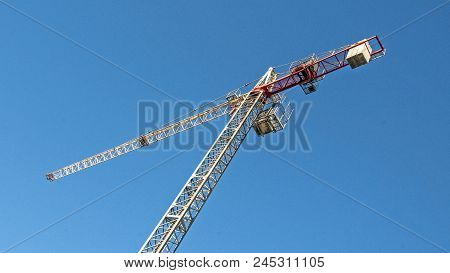 Gosford, Australia - November 16. 2017: #43.  Tower Crane Erected On A Building Construction Site In