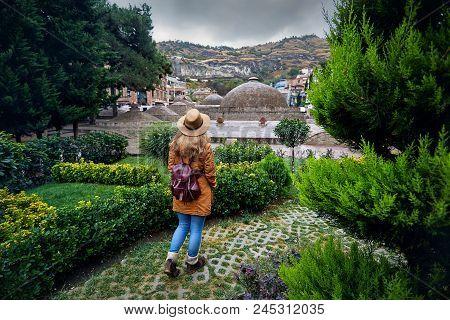 Traveler At Abanotubani District Of Tbilisi